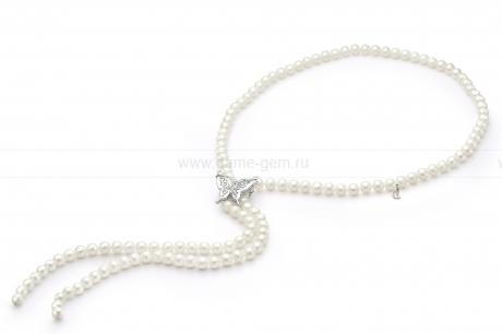 Ожерелье из белого речного жемчуга. Артикул 9642