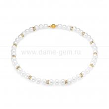 Ожерелье со стразами из белого круглого речного жемчуга 9-10 мм. Артикул 9649