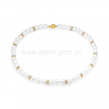 Ожерелье из белого жемчуга со стразами. Артикул 9649