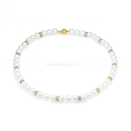 Ожерелье со стразами из белого круглого речного жемчуга 8,5-9,5 мм. Артикул 9649