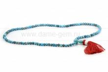 Четки из природной голубой бирюзы. Размер камня - 6 мм. Артикул 9654