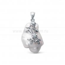Кулон из серебра с серебристой барочной жемчужиной 16-26 мм. Артикул 9670