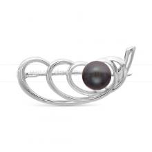 Брошь из серебра с черной жемчужиной. Артикул 9672