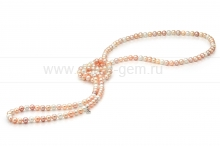 """Бусы """"микс"""" из розового и белого круглого речного жемчуга 6-6,5 мм. Артикул 9678"""