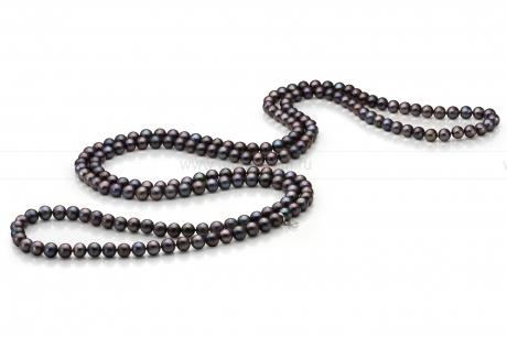 Бусы из черного круглого речного жемчуга 8,5-9,5 мм. Артикул 9684