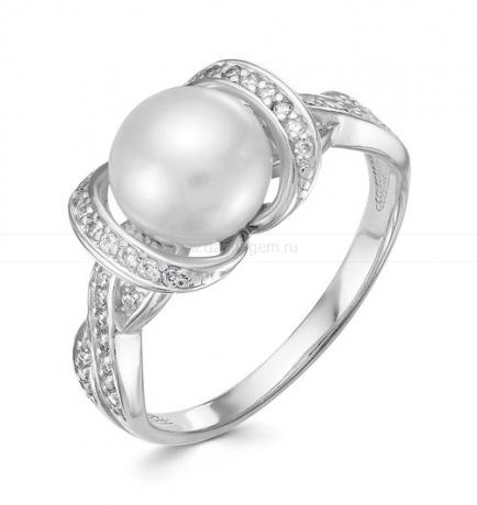 Кольцо из белого золота с белой жемчужиной 9,5-10 мм. Артикул 9708