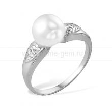 Кольцо из золота с белой жемчужиной. Артикул 9709