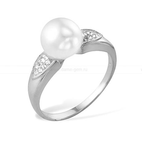 Кольцо из белого золота с белой жемчужиной 7,5-8 мм. Артикул 9709