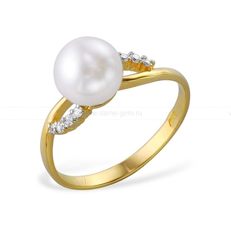 Кольцо из желтого золота с белой жемчужиной 7,5-8 мм. Артикул 9711
