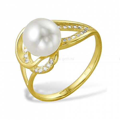 Кольцо из желтого золота с белой жемчужиной 8,5-9 мм. Артикул 9713