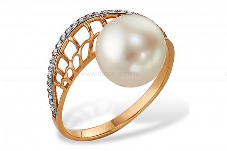 Кольцо из красного золота с белой жемчужиной 7-7,5 мм. Артикул 9714