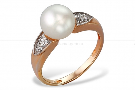 Кольцо из красного золота с белой жемчужиной 7,5-8 мм. Артикул 9715