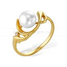 Кольцо из желтого золота с белой жемчужиной 7,5-8 мм. Артикул 9716