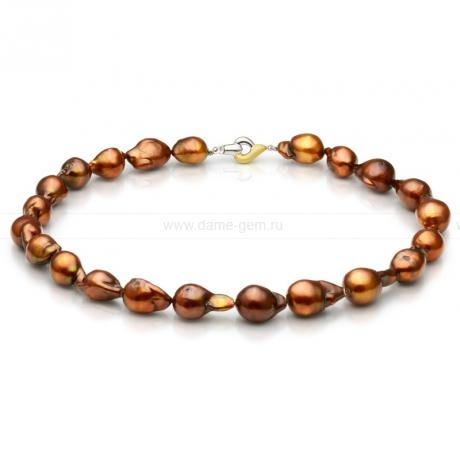 Ожерелье из шоколадного барочного речного жемчуга 12-14 мм. Артикул 9720
