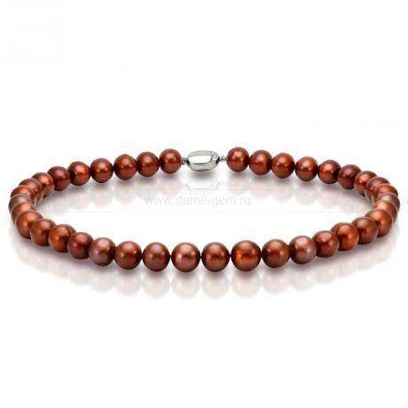 Ожерелье из шоколадного круглого речного жемчуга 11-12 мм. Артикул 9721