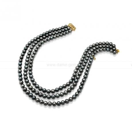 Ожерелье в 3 ряда из черного круглого речного жемчуга 7-7,5 мм. Артикул 9731