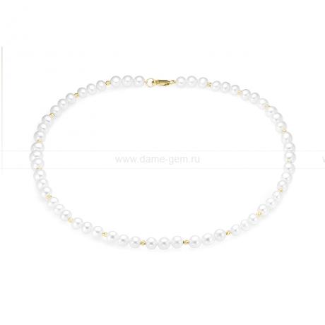 Ожерелье из белого круглого речного жемчуга 7-7,5 мм со вставками из серебра. Артикул 9733