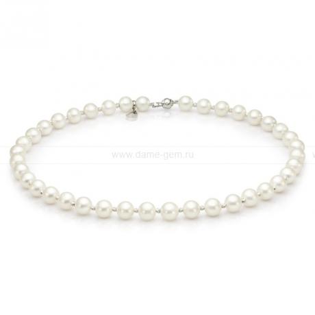 Ожерелье со вставками из серебра из белого речного жемчуга 8-8,5 мм. Артикул 9734