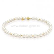 Ожерелье со вставками из серебра из белого круглого речного жемчуга 9-10 мм. Артикул 9735