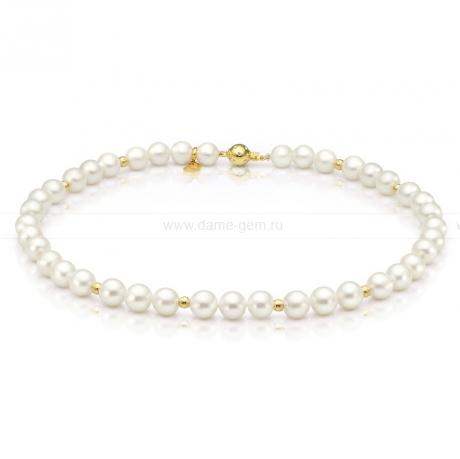Ожерелье со вставками из серебра из белого речного жемчуга 8,5-9,5 мм. Артикул 9735
