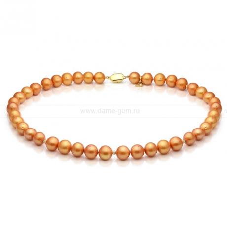 Ожерелье со вставками из золотистого круглого речного жемчуга 8,5-9,5 мм. Артикул 9736