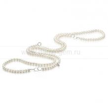 Бусы со вставками из белого круглого речного жемчуга 7-7,5 мм. Артикул 9739
