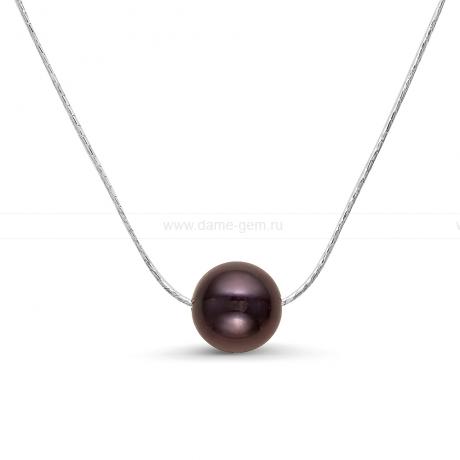 Цепочка из серебра с черной жемчужиной. Артикул 9763