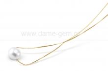 Цепочка из серебра с белой речной жемчужиной 8,5-9,5 мм. Артикул 9764