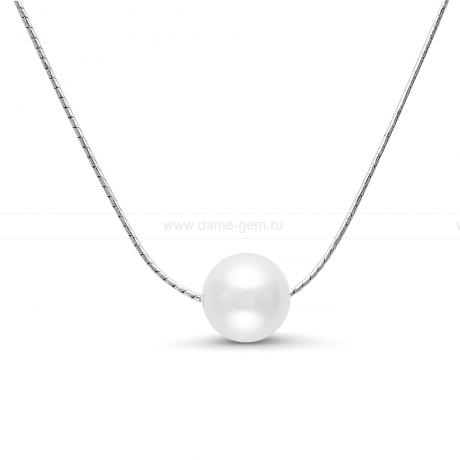 Цепочка из серебра с белой речной жемчужиной 9,5-10 мм. Артикул 9765