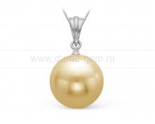 Подвеска из золота с золотистой Австралийской жемчужиной 13-13,5 мм. Артикул 9769