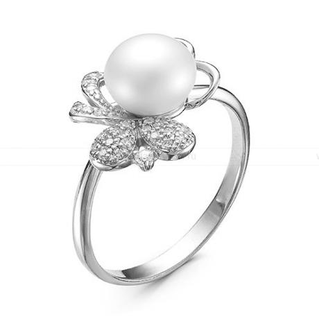 Кольцо из серебра с белой жемчужиной 7,5-8 мм. Артикул 9857