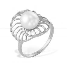 Кольцо из белого золота с белой жемчужиной 7,5-8 мм. Артикул 9862