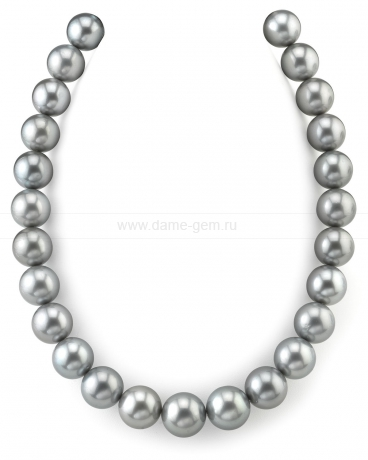 Ожерелье из серебристого круглого морского Таитянского жемчуга 11,2-14,3 мм. Артикул 9872