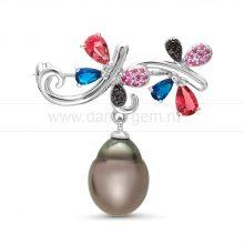 Брошь из серебра с Таитянской морской жемчужиной. Артикул 9901