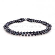 Ожерелье в 2 ряда из черного жемчуга. Артикул 9903