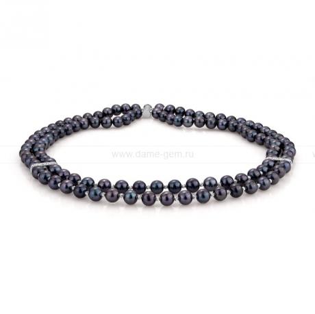 Ожерелье в 2 ряда из черного круглого жемчуга 8-8,5 мм со вставками из серебра. Артикул 9903