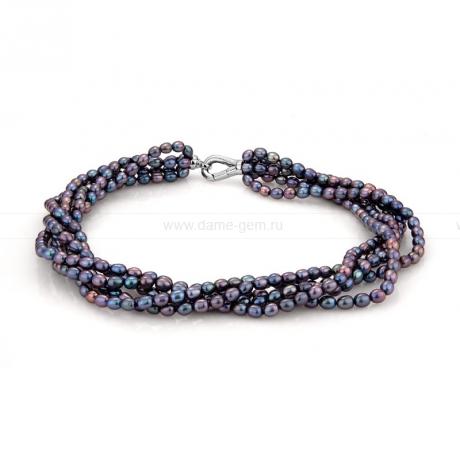 Ожерелье 5-рядное из черного рисообразного речного жемчуга 5-6 мм. Артикул 9904