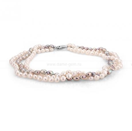 Ожерелье 3-рядное из белого и серого жемчуга. Артикул 9905