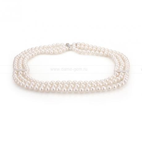 Ожерелье в 3 ряда из белого круглого речного жемчуга 7-7,5 мм. Артикул 9907