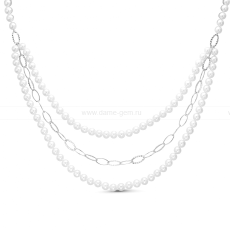 Колье в 3 ряда из белого речного жемчуга 7,5-8 мм со вставками из серебра. Артикул 9908