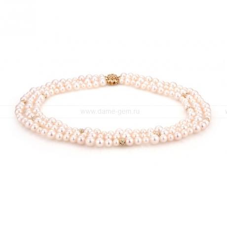 Ожерелье в 3 ряда из белого жемчуга. Артикул 9912