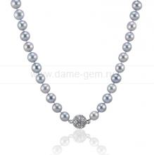 Колье (ожерелье) из серого морского жемчуга. Артикул 9914