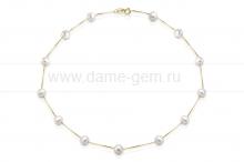 Цепочка из серебра с белыми жемчужинами. Артикул 9917