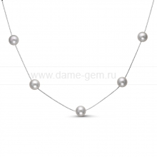 Цепочка из серебра с серыми речными жемчужинами 7-7,5 мм. Артикул 9920