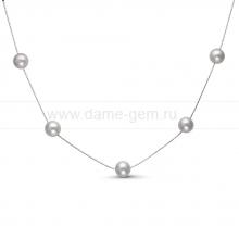 Цепочка из серебра с серыми жемчужинами. Артикул 9920