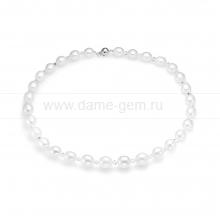Ожерелье из белого жемчуга со вставками Сваровски. Артикул 9937