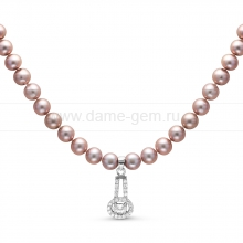 Ожерелье с кулоном из серого круглого речного жемчуга 7-7,5 мм. Артикул 9938
