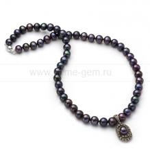 Ожерелье с кулоном из черного круглого речного жемчуга 7,5-8 мм. Артикул 9939