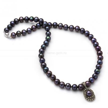 Ожерелье из черного речного жемчуга. Артикул 9939