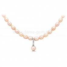Ожерелье с кулоном из розового речного жемчуга. Артикул 9941